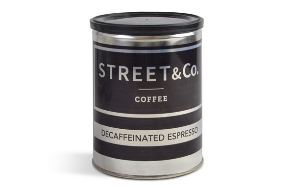 street and co decaff pre ground tin